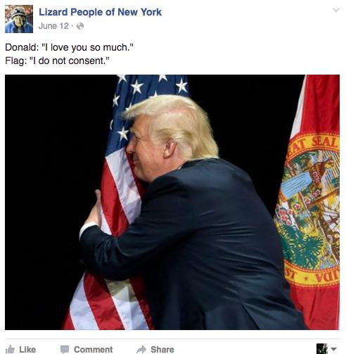 Lizard Trump Hugs Flag Lizard People Of New York Know Your Meme