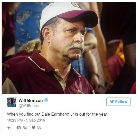 Dale Earnhardt Jr Out For The Year Frustrated Florida State Dad