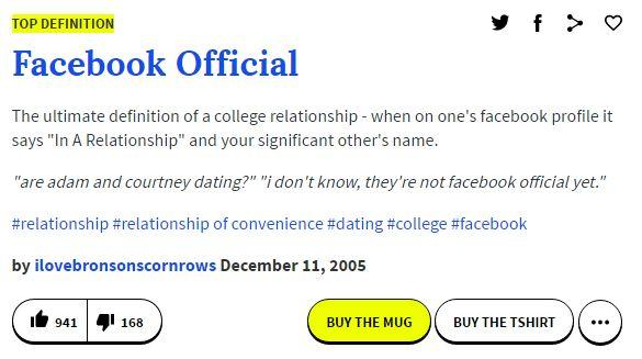 Officially dating definition dictionary