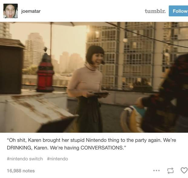 Tumblr post with still from the Nintendo Switch trailer about a woman bringing the console with her to a party and annoying the other guests with it