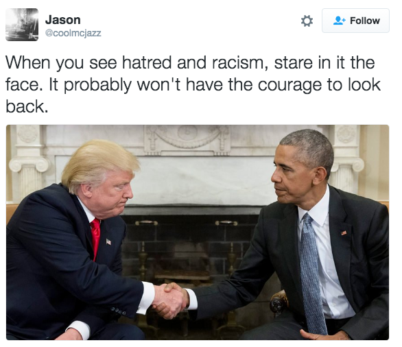 Tweet Photo Obama And Trump Shaking Hands Know Your Meme