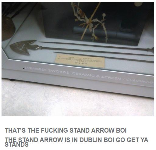 Fancy A Trip To Trip To Ireland Jojo S Bizarre Adventure Know Your Meme I just checked and it's the standard arrow. bizarre adventure