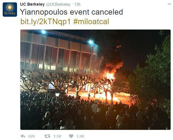 UC Berkeley Fire Tweet | 2017 Milo Yiannopoulos UC Berkeley