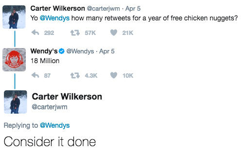 Yo @Wendys how many retweets for a year of free chicken
