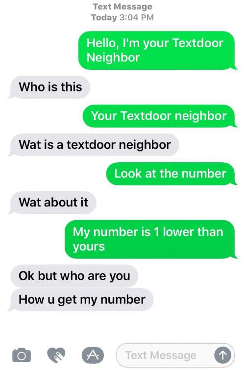 Number Neighbor / Text Door Neighbor | Know Your Meme