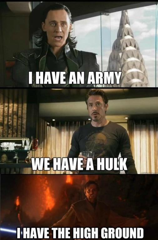 I HAVE AN ARMY WEHAVE A Hut IHAVE THE HIGH GROUND Mark Ruffalo Hulk Iron Man Loki Captain America Thor Spider-Man The Avengers