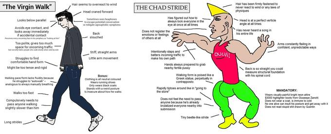 The Virgin Walk Vs The Chad Stride  Counter-Signal Memes -5999