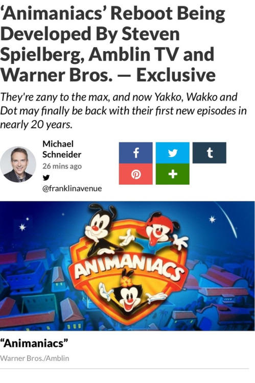 Animaniacs reboot announced (With the involvment of the