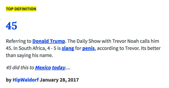 top definition 45 referring to donald trump the daily show with trevor noah calls him - Mexican Christmas Urban Dictionary