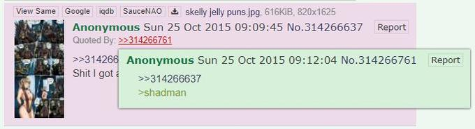 first documented use of the expression GREAT THAN Shadman on 4chan