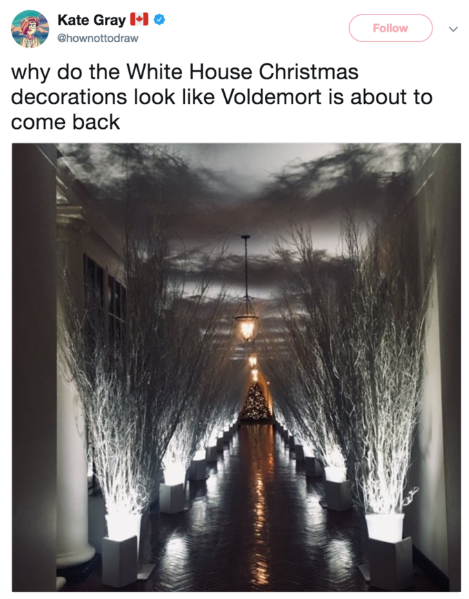 twitter user hownottodraw questions why the whitehouse christmas decorations look like voldemort is about to