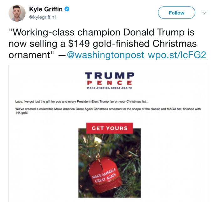 tweet by kylegriffin1 about the maga christmas ornament