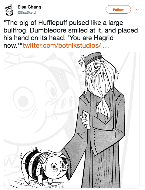 "Elsa Chang @ElsaSketch Follow ""The pig of Hufflepuff pulsed like a large bullfrog. Dumbledore smiled at it, and placed his hand on its head: You are Hagrid now.""twitter.com/botnikstudios/... Hermione Granger Rubeus Hagrid Harry Potter Ron Weasley Professor Albus Dumbledore white clothing black and white mammal cartoon text vertebrate footwear line art head joint human behavior shoe product"