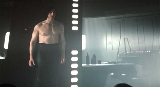 screenshot of a shirtless Kylo Ren in The Last Jedi