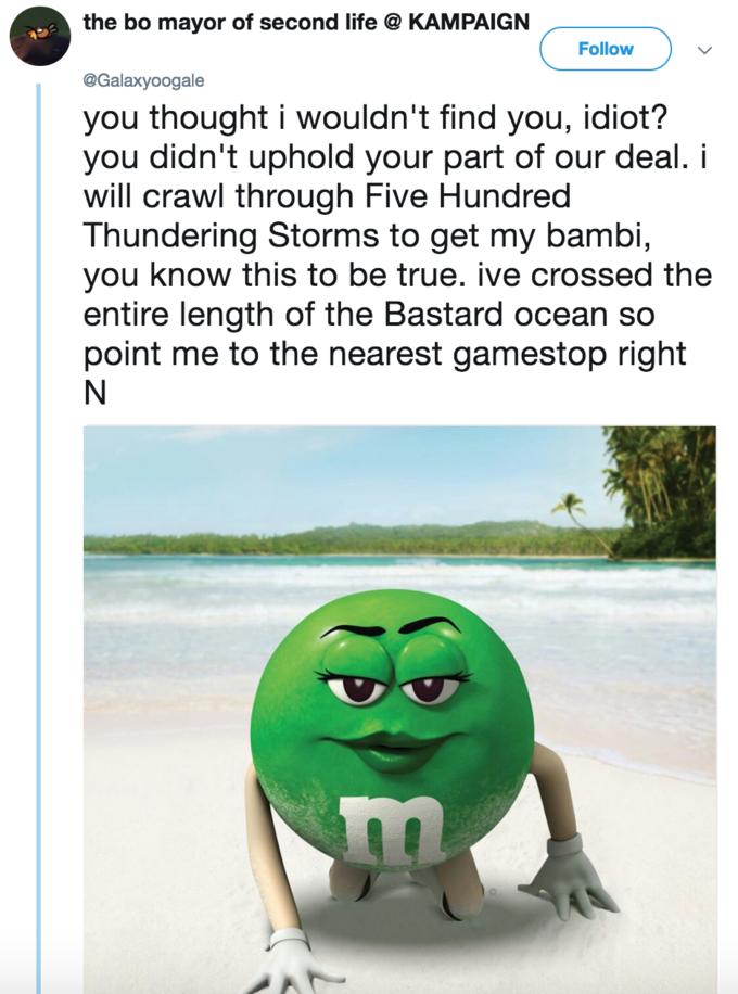 Green M&M Bambi Copypasta | Know Your Meme