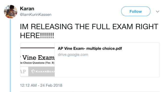 Karan LamKurinKassen Follow IM RELEASING THE FULL EXAM RIGHT AP Vine Exam Multiple