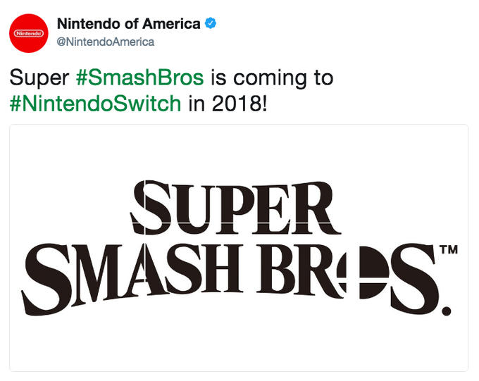 Nintendo of America @NintendoAmerica Ninlendo Super #SmashBros is coming to #Nintend°Switch in 2018! SUPER TM Super Smash Bros. Brawl Super Smash Bros. for Nintendo 3DS and Wii U Project M Pikachu Wii U Wii text font