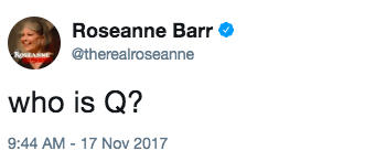 Roseanne Barr @therealroseanne who is Q? 9:44 AM- 17 Nov 2017 United States text font product
