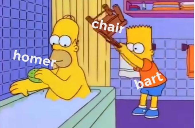 Bart Hits Homer With A Chair Know Your Meme