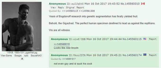 Ernest Khalimov aka GigaChad first thread on the 4chan /pol thread