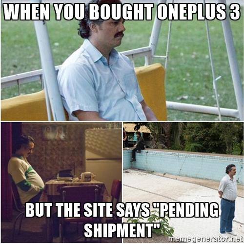 WHEN YOU BOUGHT ONEPLUS3 BUTTHE SITE SAYS PENDING SHIPMENT