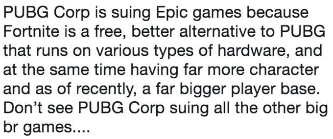 pubg corp is suing epic games because fortnite is a free better alternative to pubg - the definition of fortnite
