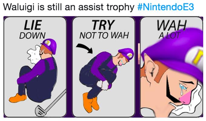 Waluigi is still an assist trophy #NintendoE3 WAH LIE DOWN TRY NOT TO WAH comics purple cartoon text vertebrate fiction fictional character