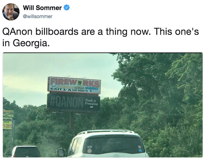 Will Sommer @willsommer QAnon billboards are a thing now. This one's in Georgia. FİREWa RI E)( 1-A EAST RIDGE TN. r] Truth is Freedom. 391 motor vehicle transport road mode of transport advertising vehicle