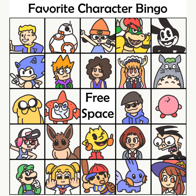 TIME Free Space YOUR Favorite Character Bingo 6