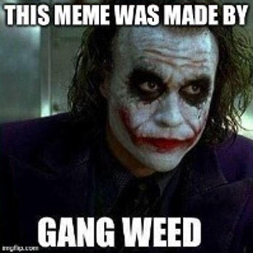 THIS MEME WAS MADE BY GANG WEED Joker supervillain joker fictional character