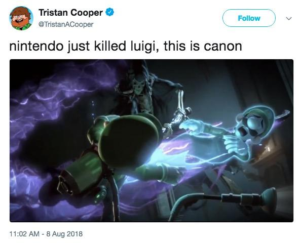 Tristan Cooper @TristanACooper Follow nintendo just killed luigi, this is canorn just killed Tuia 11:02 AM - 8 Aug 2018 technology organism