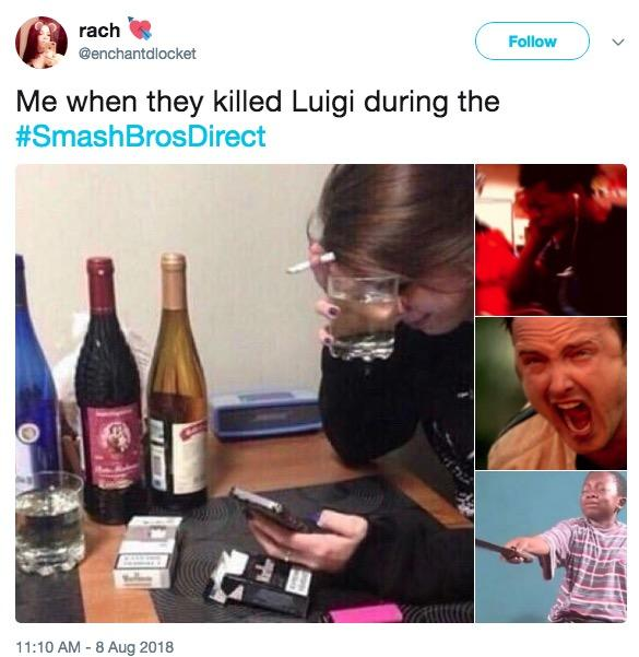 rach @enchantdlocket Follow ) Me when they killed Luigi during the #Smash BrosDi rect 11:10 AM - 8 Aug 2018 bottle product