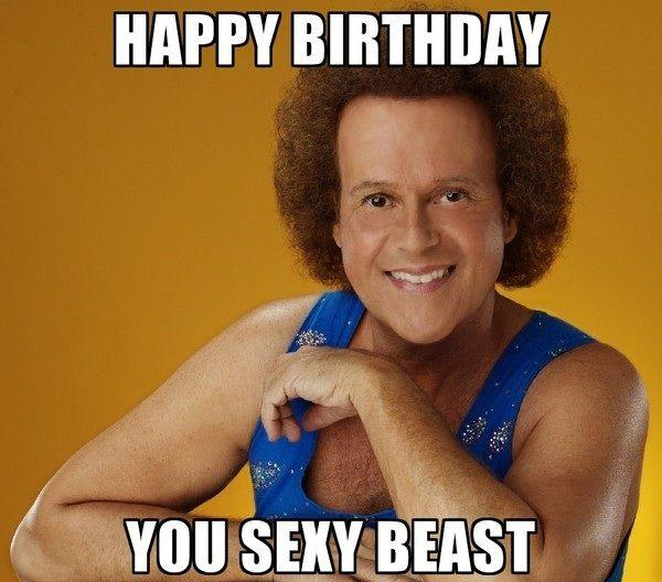 HAPPY BIRTHDAY YOU SEXY BEAST Richard Simmons chin photo caption