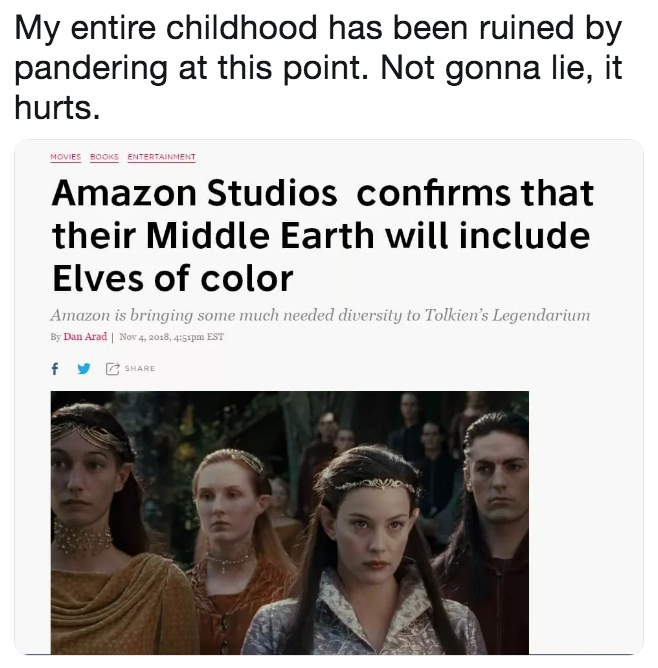 Lord Of The Rings Elves Of Color Hoax Know Your Meme