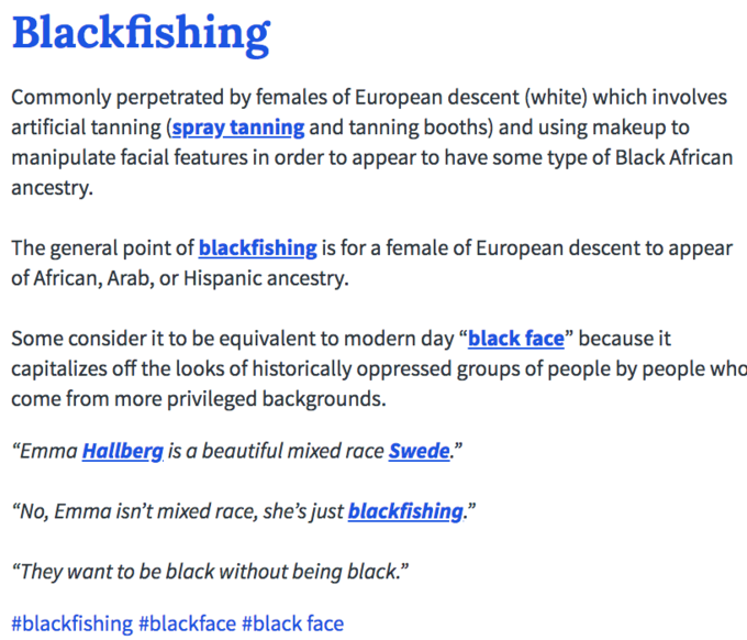 Image result for blackfishing definition