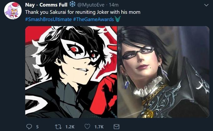 Nay - Comms F @MyutoEve 14m Thank you Sakurai for reuniting Joker with his mom #SmashBrosUltimate #TheGameAwards, . Persona 5 Persona 4 eyewear vision care black hair