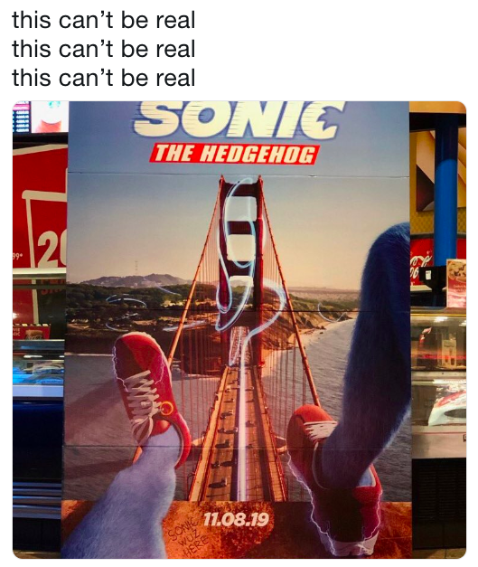 live action Sonic movie poster of view from between Sonic's legsf