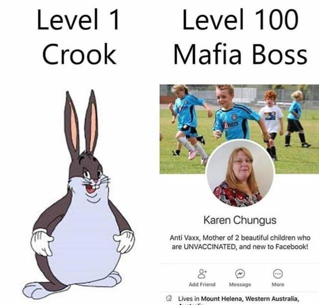 Level 1 Level 100 CrookMafia Boss Karen Chungus Anti Vaxx, Mother of 2 beautiful children who are UNVACCINATED, and new to Facebook! O. Add Friend Message More C Lives in Mount Helena, Western Australia,