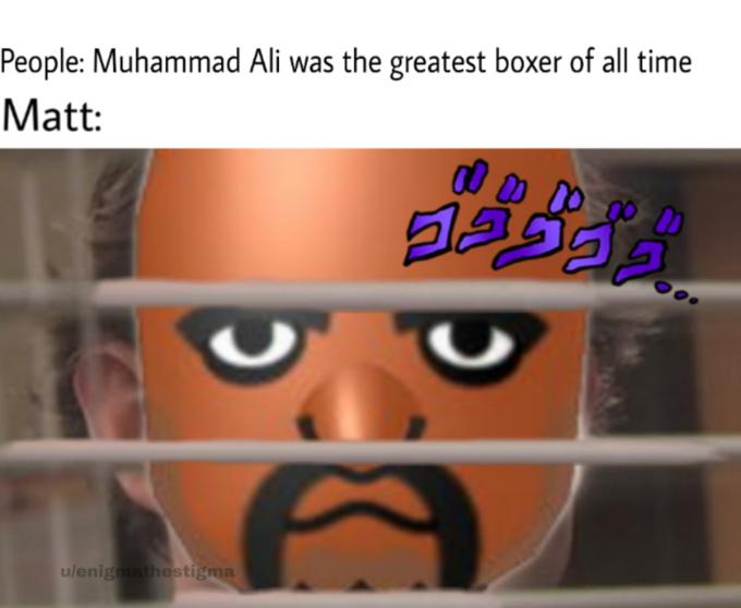 People: Muhammad Ali was the greatest boxer of all time Matt: ulenig hestigma Facial expression Head Nose Cartoon Photo caption Forehead Eye