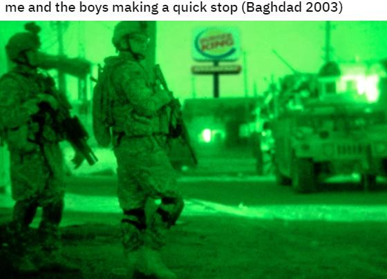 me and the boys making a quick stop (Baghdad 2003) Green