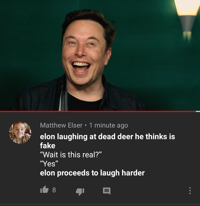 Elon Musk Laughing at Dead Deer | Know Your Meme