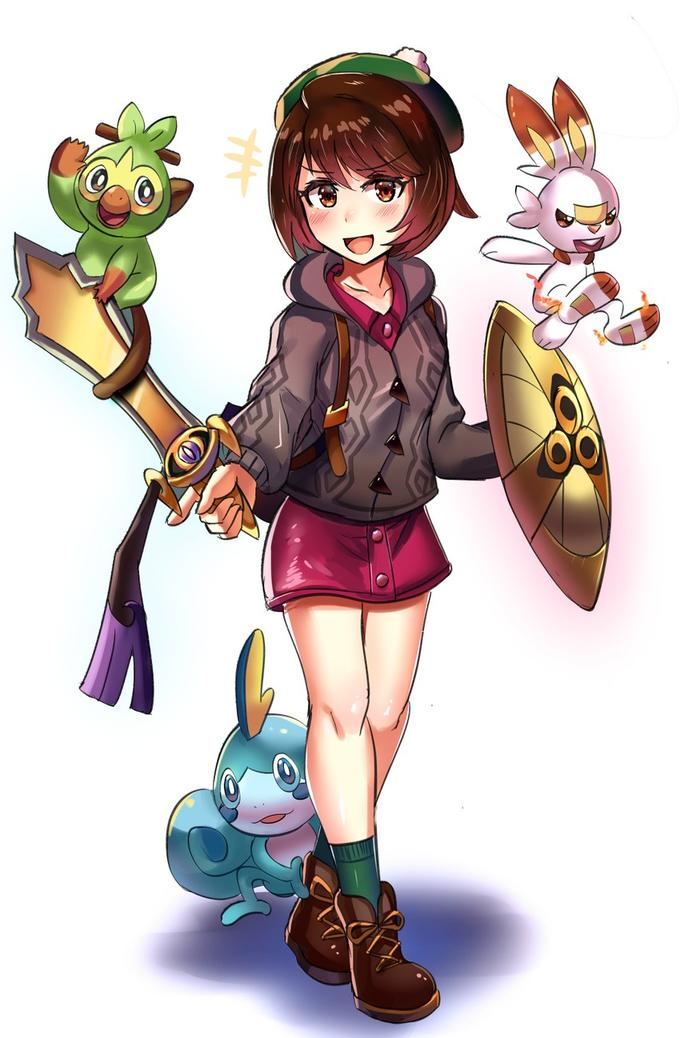 Female Trainer With Her Sword And Shield Pokemon Sword And Shield