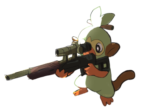 Grookey Has A Sniper Gun Pokemon Sword And Shield Know Your Meme Grookey is one of the starter pokémon available for you to pick at the beginning of your adventure in pokémon sword & shield, alongside scorbunny and sobble. grookey has a sniper gun pokemon