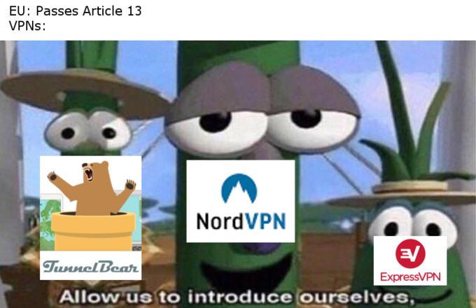 EU: Passes Article 13 VPNs: NordVPN a/ ExpressVPN Allowus to introduce ourselves Cartoon Animated cartoon Organism Photo caption Font Animation Tree Grass