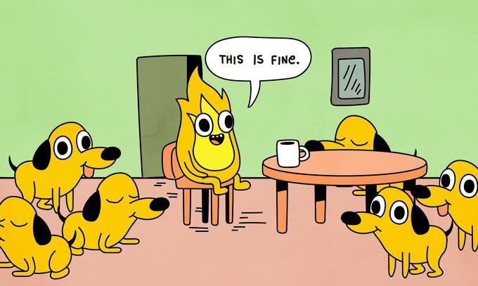 THIS IS FINe. Cartoon Yellow Animated cartoon