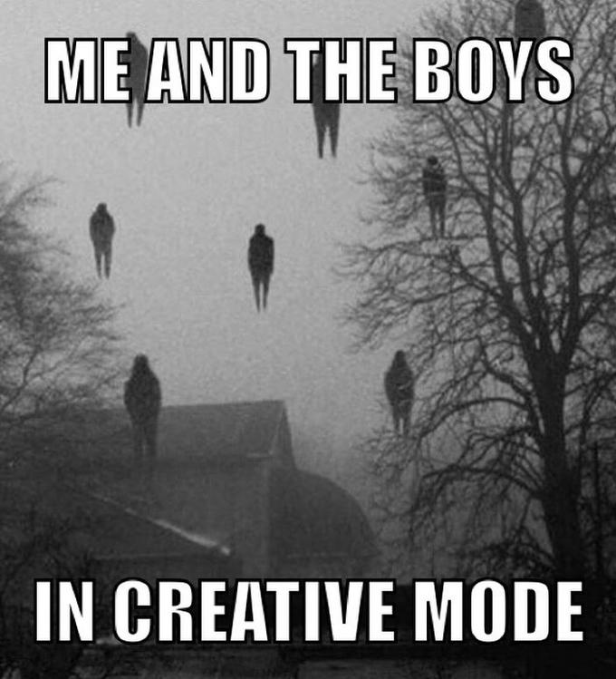ME AND THE BOVS IN CREATIVE MODE Text Font