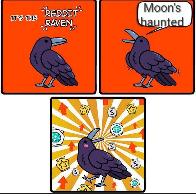Moon's IT'S THE REDDIT RAVEN haunted Bird Crow
