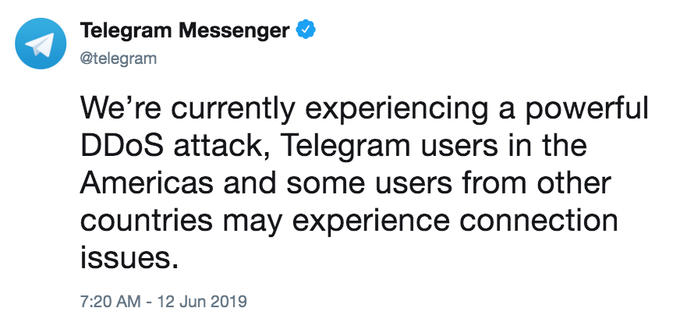 We're currently experiencing a powerful DDoS attack, Telegram users