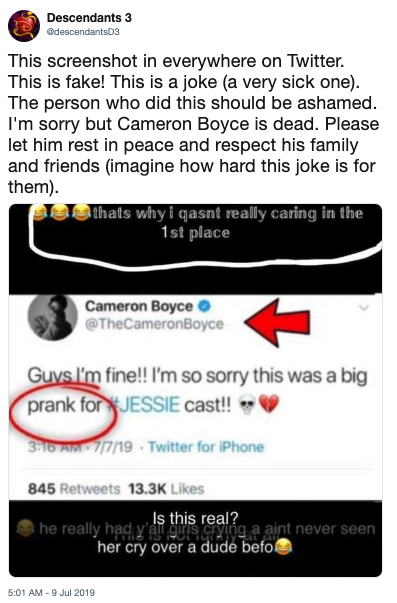 Cameron Boyce's Death | Know Your Meme