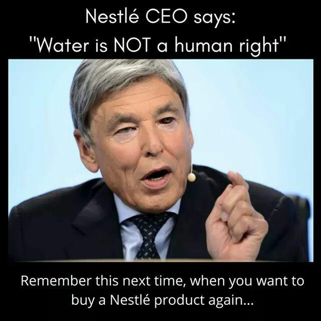 Nestlé CEO water is not a human right original meme